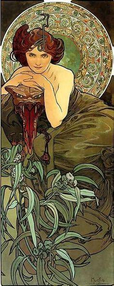 Art Nouveau ~ Alphonse Mucha - Woman with Wild Cat | JV