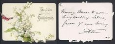 """Empress Alexandra Feodorovna of Russia card to Princess Irene of Hesse (Darmstadt) and By Rhine in 1891. """"AL"""""""