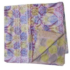 Vintage Silk Hand Quilted Kantha Circle Work Stoles Reversible Shawl Scarf 240