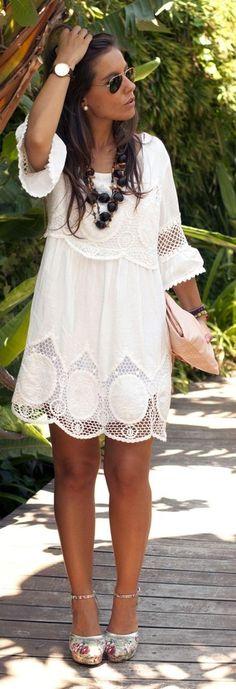 Women's White Lace Shift Dress, Beige Floral Canvas Pumps, Beige Leather Clutch, Dark Brown Sunglasses