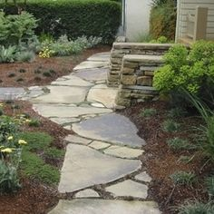 flagstone patio with fire pit home design ideas pictures remodel and decor - Flagstone Walkway Design Ideas