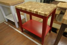 Red Butcher Block Kitchen Cart with Hickory Top by McClure Tables.
