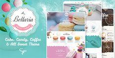 Bellaria - a Delicious Cakes and Bakery WordPress Theme Cake Candy, Tea Website, Cosmetic Shop, Cupcakes, Custom Icons, Themes Free, Creative Portfolio, Pastry Shop, Wordpress Theme
