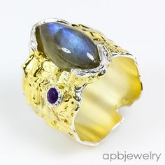 Handmade Fine Art Natural Labradorite 925 Sterling Silver Ring Size 8.5/R33198 #APBJewelry #Ring