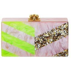 Edie Parker Jean Diagonals Neon and Glitter Clutch featuring polyvore, fashion, bags, handbags, clutches, lucite purse, striped purse, edie parker clutches, neon purse and glitter purse