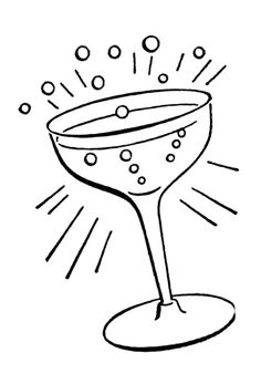 Retro cocktail glass embroidery pattern | The Graphics Fairy