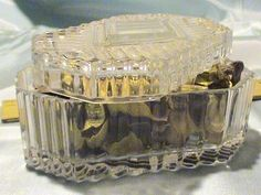 Vintage Art Deco Cut Lead Crystal Casket Lidded Jewelry Trinket Box, circa 1930s
