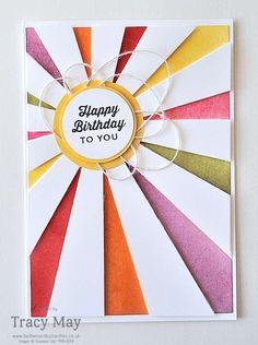 Rainbow Sunburst Card from Stampin' Up! (Bedlam & Butterflies) A Rainbow Sunburst Card from Stampin' Up!A Rainbow Sunburst Card from Stampin' Up! Handmade Birthday Cards, Happy Birthday Cards, Greeting Cards Handmade, Card Birthday, Karten Diy, Rainbow Card, Copics, Creative Cards, Cool Cards