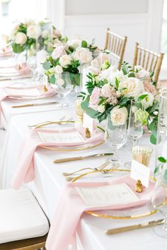 Kelly + Jeff by Dana Cubbage Weddings Wedding Reception Tables, Wedding Table Decorations, Wedding Napkins, Wedding Centerpieces, Pink Wedding Receptions, Wedding Ideas, Party Wedding, Wedding Details, Pink And Gold Wedding