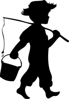 Boy Fishing Silhouette 2 - Click Image to Close