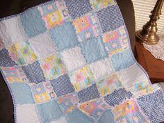 Blue Cotton Baby Blanket by stitchingknitting on Etsy, $25.00