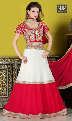Peppy Embroidered Work A Line Lehenga Choli This delightful diva accoutre features unique styling and unusual material. Include yourself in the glamour of the season with this elegant red and white georgette a line lehenga choli. The embroidered, patch border and resham work looks chic and perfect for any occasion. Comes with matching choli and dupatta.
