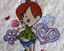 Personalised Cotton Bath Towel - Pebbles Flintstone Design (127)