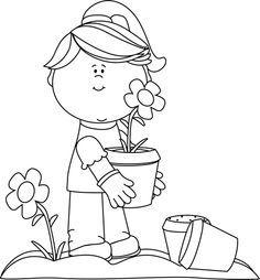 Kids Garden Clipart Black And White