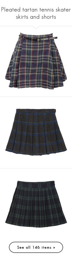 """Pleated tartan tennis skater skirts and shorts"" by giselle123456 on Polyvore featuring skirts, mini skirts, bottoms, pleated mini skirt, short mini skirts, short pleated skirt, navy blue mini skirt, navy blue pleated skirt, short skirts y high waisted mini skirt"