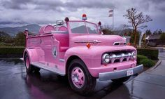 I somehow don't think anyone would take a pink fire truck seriously. Ford Gt, Pink Purple, Hot Pink, Tout Rose, Pink Truck, I Believe In Pink, Pink Power, Volkswagen, Everything Pink