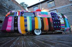 The covet knitting group, Knitiffi (UK) bombed this caravan.