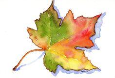 Maple Leaf Orignal Watercolor Autumn by CarlinArtWatercolor Watercolor Leaves, Watercolor And Ink, Watercolor Paintings, Original Paintings, Pineapple Watercolor, Autumn Painting, Autumn Art, Leaf Wall Art, Leaf Art