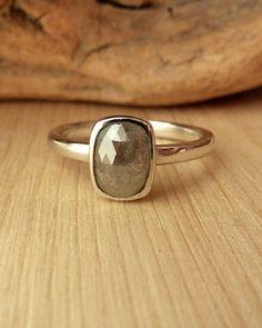 Grey Cushion Shape Rose Cut Diamond Ring by kateszabone on Etsy