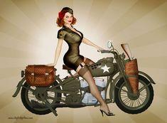 A US Army Harley Pinup by Sean Earley