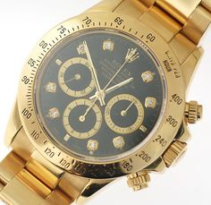 Rare Rolex Daytona Yellow Gold Zenith / Black Diamond Dial ! Nice