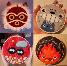 Studio Ghibli Embroidery Hoops Mononoke, Totoro, Soot Sprites, Calcifer By Love & a Sandwich