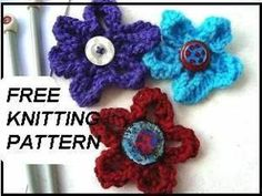 yt free knitted flower applique pattern