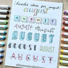 Since August is the month of the year here are 8 header ideas for it ? lettering hand lettering calligraphy brush lettering tutorial art drawing handlettering леттеринг за 5 минут how to markers diy letter каллиграфия леттеринг Bullet Journal Tracker, Bullet Journal School, Bullet Journal Headers, Bullet Journal Banner, Bullet Journal Writing, Bullet Journal Aesthetic, Bullet Journal Ideas Pages, Bullet Journal Inspiration, Journal Fonts