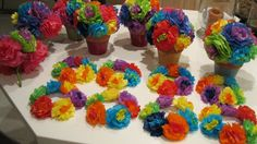 mexican paper flowers centerpieces and candle rings Mexican Fiesta Party, Fiesta Theme Party, Party Themes, Party Ideas, Mexican Centerpiece, Mexican Party Decorations, Paper Flower Centerpieces, Party Centerpieces, Mexican Paper Flowers