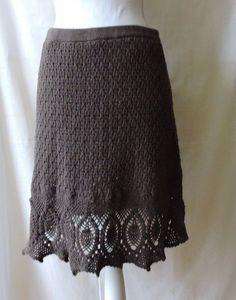 Athleta Women Gray Crochet Knit Skirt Size L #Athleta #StretchKnit