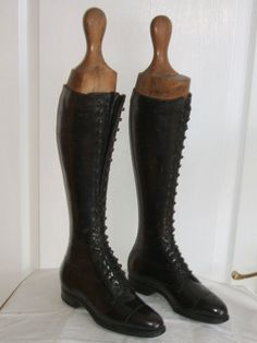 SUPER PAIR ANTIQUE EDWARDIAN BLACK LEATHER RIDING BOOTS + WOODEN TREES   eBay
