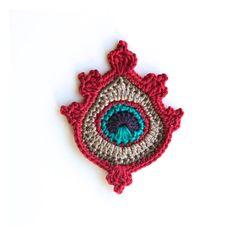 Crochet PATTERN Large Peacock Feather Motif  photo tutorial