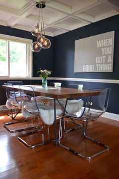 Sputnik Chandelier Lights Up Mid-Century Dining Room in Monaco Room Paint Colors, Paint Colors For Living Room, Dining Room Design, Dining Room Furniture, Dining Rooms, Dining Table, Room Chairs, Wood Table, Clear Chairs