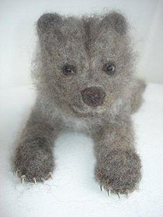Needle felted Bear. Cute.