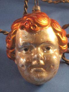 Antique German Large Boys Head Glass  Christmas Tree Ornament