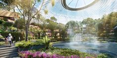Project Jewel at Singapore Changi Airport is being drawn up by a consortium of design consultants led by world renowned architect Moshe Safdie, who de… - All For Garden A As Architecture, Australian Architecture, Singapore Changi Airport, Airport Design, Garden Fountains, Fountain Garden, Thing 1, Design Consultant, Beautiful Butterflies