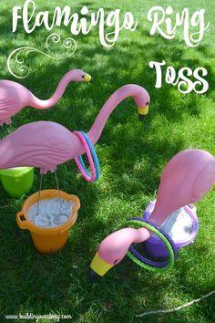 Flamingo Ring Toss Game #OutdoorGames #Games #PartyGames #Carnival #Luau #Flamingos