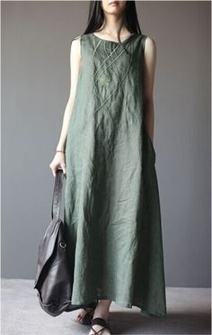 Embroidered Linen Dress in Green: