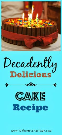 Decadently Delicious Cake Recipe - This beautiful cake uses kit kat and M&M's as a decorating tool, but there are a lot less M&M's than you realize. YUMMY!