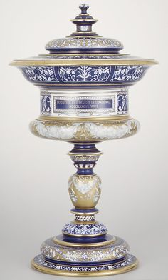 Standing Cup with Cover by  Sèvres. Decoration possibly by: François Hallion (active 1866–96) Date: 1879 (Metropolitan Museum of Art)
