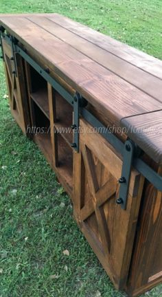 TV Console/TV Stand/Entertainment Center/Barn Door/Custom/media stand/media hutch/cabinent/sliding d Console Tv, Center Console, Pallet Furniture, Rustic Furniture, Living Room Furniture, Antique Furniture, Furniture Ideas, Furniture Movers, Furniture Makeover