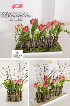 DIY: make unusual flower decorations for the table yourself Fresh flowers arranged differently! So you bring spring into the house with tulips, freesia and branches. Fresh Flowers, Spring Flowers, Diy Décoration, Diy Crafts, Fleurs Diy, Unusual Flowers, Garden Terrarium, Deco Floral, Garden Boxes