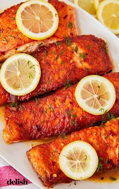 Garlic Butter Salmon In Foil Recipe Primavera Kitchen. Baked Salmon With Garlic And Dijon VIDEO . Keto Baked Salmon With Lemon Butter Recipe Diet Doctor. Home and Family Healthy Salmon Recipes, Fish Recipes, Seafood Recipes, Cooking Recipes, Recipies, Drink Recipes, Keto Recipes, Salmon Dishes, Fish Dishes