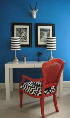 Painted and chevron fabric