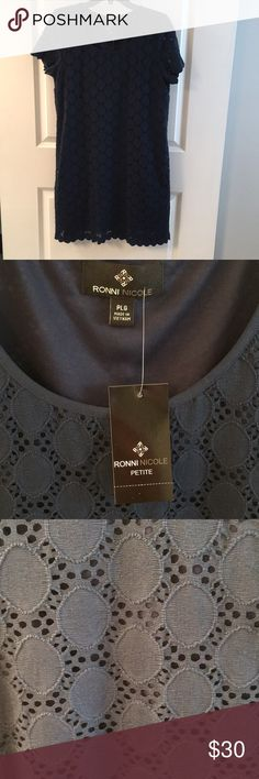 Ronni Nicole navy blue short sleeved dress PLG Great dress for a baby or wedding shower...or for work. Pretty lace with scalloped hem and sleeves. Size petite large. (Prob 10) Ronni Nicole Dresses