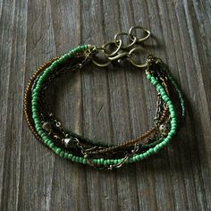 Riley Bracelet - Kelly Grass Pine Green Brown Seed Bead Mixed Antique Brass Chain Multi Strand