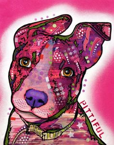 Pittiful Pup Pit Bull Dog Art Original Animal Painting