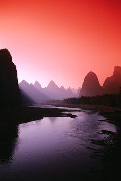 Li River Near Yangshuo at Dusk, China