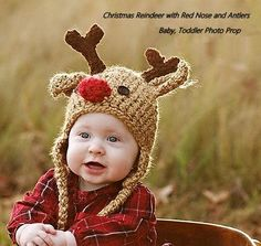 Baby Hat Reindeer Deer Hat Handmade Crochet Photo Prop Babys First Christmas Rudolph Red Nose Holiday Card Photography Boy Girl Tassel Beanie Clothing Outerwear Gifts