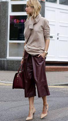 Burgundy leather & tan
